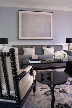 Gray living room theme with white and purple/periwinkle accents