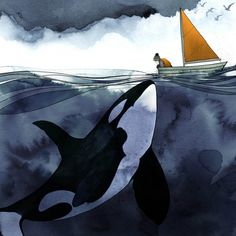 The Greeting 🌊 What majestic sea creature would you like to meet? - Watercolor illustration by Chellie Carroll. Whale Illustration, Watercolor Illustration, Watercolor Paintings, Orca Kunst, Animal Drawings, Art Drawings, Orca Art, Whale Art, Killer Whales