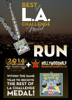 New Year's Race / Hollywood Half Marathon Best Of LA Challenge Medal Series, Triple Crown Medal, Beach Cities Challenge Medal Series