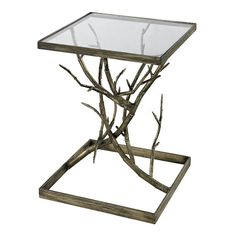Blackened silver branch side table by AutumnElleDesign on Etsy