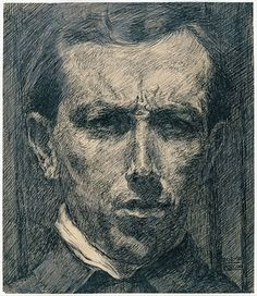 """Umberto Boccioni self-portrait, 1910. From """"100 Self-Portrait Drawings from 1484 to Today"""""""
