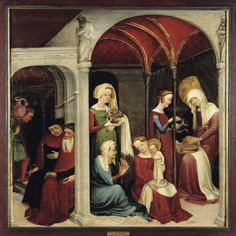 early 15th century (1410 or ca. 1430) Strasbourg Birth of the Virgin by the Master of the Paradiesgärtlein (AKA the Upper Rhenish Master) Strasbourg, Musée de l'Œuvre Notre-Dame http://commons.wikimedia.org/wiki/File:Nativit%C3%A9_de_la_Vierge_%28_Mus%C3%A9e_de_l%27Oeuvre_Notre-Dame_de_Strasbourg_%29.jpg