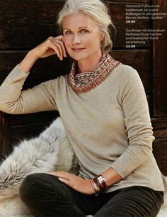 Model Pia Grønning age 66 - Tan Sweater. Print Scarf, and Olive Corduroy Jeans