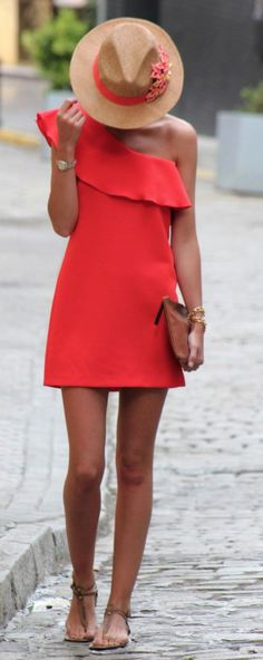 One shoulder coral dress, love all of this for summer