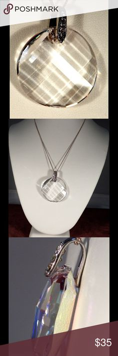 "Brilliant Swarovski Crystal Clear Pendant Necklac 1"" in diameter Crystal Clear Pendant.Sterling Silver Chain  available in 16"" 18"" or 20""   It is a matching earrings in my listing. Crystal by Swarovski Jewelry Necklaces"
