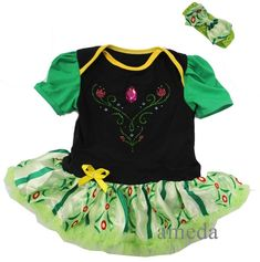 Anna Princess Bodysuit Tutu Coronation Costume Baby Girl Party Dress 0-4Y b61e20d1c9ff