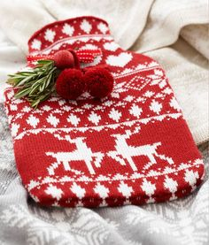 Christmas Knitting Ideas. Easy Christmas Knitting Ideas. Hot water bottle cover could be made from old sweater.