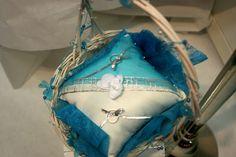 coussin d'alliance très fleur bleue