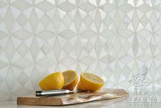 Diamond white mosaic backsplash