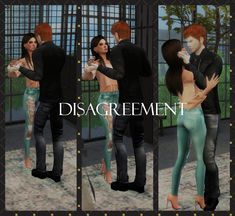 """Disagrement"" Couple poses for sims 4 by Sims 4 Game Mods, Sims Games, Sims Mods, Sims 4 Couple Poses, Couple Posing, Sims 4 Stories, Sims 4 Black Hair, Fighting Poses, Sims 4 Dresses"