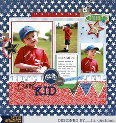 Cute Patriotic Layout by Liz Qualman using Vintage Summer from Little Yellow Bicycle