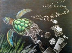 Piscataway High School Senior Wins Award For Art Depicting - Piscataway Nj Mary Dvorsky A Piscataway High School Senior Won An Honorable Mention Award And A Cash Prize For Her Art Category Submission To The International Ocean Awareness Plastic Pollution, Ocean Pollution, Gcse Art Sketchbook, Reflection Art, Plastic Art, A Level Art, Sea Art, Environmental Art, Art Plastique