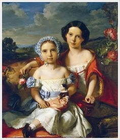Portrait of Two Children. 1849. Wital Jean de Gronckel