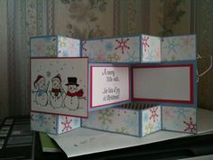 snowmen tri shutter card by - Cards and Paper Crafts at Splitcoaststampers Tri Fold Cards, Fancy Fold Cards, Folded Cards, Hanukkah Cards, Xmas Cards, Holiday Cards, Trifold Shutter Cards, Christmas Card Crafts, Step Cards