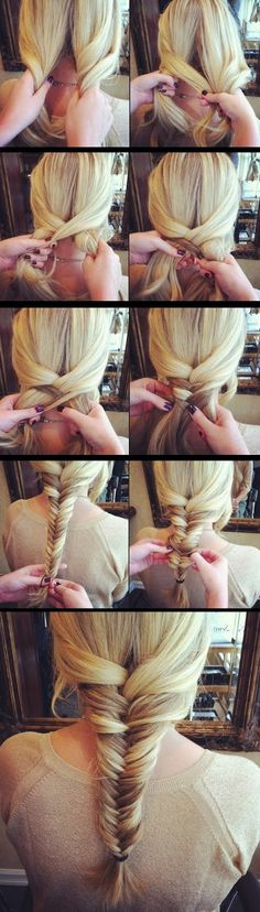 Simple Fishtail Braid Tutorial -I wish i had long hair again for these.