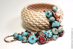 "Bracelet ""Turquoise&Chocolate"", Murano glass, lampwork glass bead, handmade glass beads by NizovtsevaEkaterina on Etsy https://www.etsy.com/listing/228611312/bracelet-turquoisechocolate-murano-glass"
