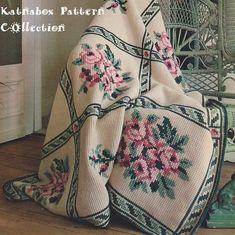 Tunisian Crochet Embroidered Tunisian Afghan - The pattern Motifs Afghans, Crochet Motifs, Crochet Flower Patterns, Tunisian Crochet, Afghan Crochet Patterns, Crochet Stitches, Cross Stitch Patterns, Knit Crochet, Knitting Patterns