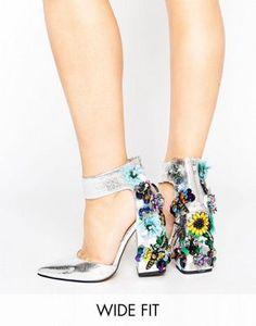 ASOS POPSTAR Wide Fit Embellished Heels