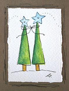 42 Beautiful Christmas Card Design Ideas To Try – Christmas DIY Holiday Cards Homemade Christmas Cards, Christmas Cards To Make, Christmas Greeting Cards, Christmas Art, Christmas Greetings, Christmas Makes, Christmas Ideas, Watercolor Christmas Cards, Christmas Drawing