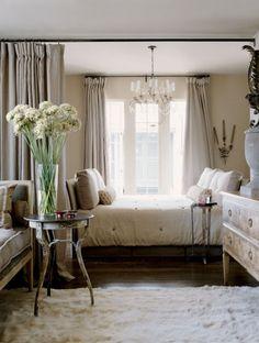McAlpine Booth & Ferrier Interiors included Niermann Weeks Italian Chandelier & Orleans Table in this bedroom.  niermannweeks.com #NiermannWeeks