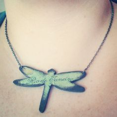 Decoupage dragonfly necklace with map of Rio De by verdesedano
