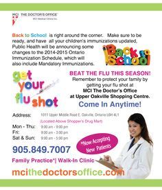 Get your flu shot at MCI The Doctor's Office. Walk In Clinic, Doctor Office, Public Health, Flu, Back To School, Medical, Entering School, Back To College, Active Ingredient