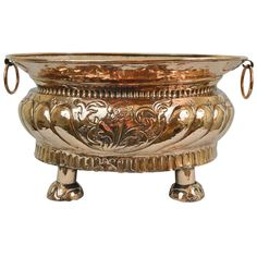 1stdibs | Copper Planter or Fountain Bowl with Floral Decorations & Ring Handles