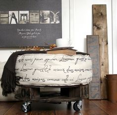 How to Make a Round Pallet Style French Industrial Ottoman DIY Project: French Industrial Ottoman { Pallet Ottoman, Diy Ottoman, Ottoman Ideas, Round Ottoman, Round Stool, Furniture Projects, Home Projects, Diy Furniture, French Industrial