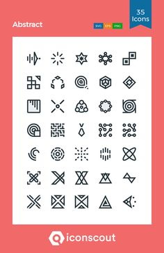 Abstract  Icon Pack - 35 Colored Outline Icons Png Icons, Icon Pack, Icon Font, Design Development, Outline, Fonts, Abstract, Designer Fonts, Summary
