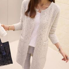 Long Cardigan Women 2016 New Fashion Autumn Winter Sweater Women Long Sleeve Knitted Cardigan Female Tricot Women Clothes