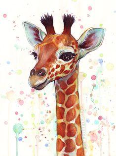 GIRAFFES GIRAFFES AND GIRAFFES!!! — olechka: Baby Giraffe Watercolor Painting Signed...