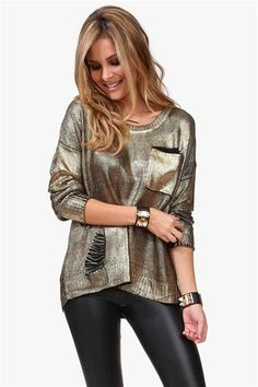 shimmery black and gold sweater Get 8% cash back http://www.studentrate.com/itp/get-itp-student-deals/Necessary-Clothing-Student-Discount--/0