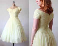 1950s dress  yellow chiffon 50s dress by Thrush on Etsy, $215.00
