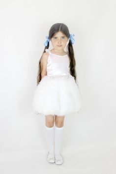 Girls Feather Dress  Child's Birthday by #FriolinaFancyDesigns #little_girl #fashion