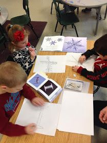 """I showed the students the book called """"Snowflakes"""" by: Kenneth Libbrecht. It is a collection of magnified snowflake pictures taken in vari. Kindergarten Assessment, Kindergarten Classroom, Classroom Ideas, Snowflake Pictures, 3rd Grade Art Lesson, Show Me Pictures, How To Make Crystals, Winter Crafts For Kids, Kids Crafts"""