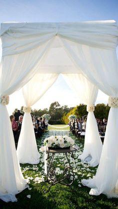 Outdoor Wedding Draping - Wedding Ideas, Wedding Trends, and Wedding Galleries Wedding Draping, Wedding Ceremony, Our Wedding, Wedding Venues, Dream Wedding, Glamorous Wedding, Wedding Canopy, Outdoor Ceremony, Garden Wedding