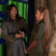 Evangeline Lilly and Aidan Turner (BTS)....