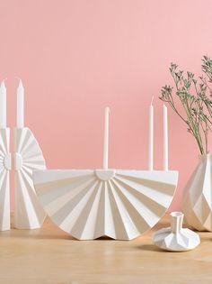 A Hanukkah Menorah in Modern geometric Judaica design, made of white ceramic. A contemporary Judaica Chanukah &wedding gift This modern Judaica