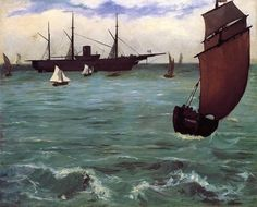 """""""Fishing Boat Coming in Before the Wind"""" by French artist - Édouard Manet Oil on canvas, x cm.), Metropolitan Museum of Art - New York, New York, USA. *Note: Also known as """"The Kearsarge at Bologne"""". Renoir, Claude Monet, Camille Pissarro, Edgar Degas, National Gallery Of Art, Art Gallery, Metropolitan Museum, Edouard Manet Paintings, Oil On Canvas"""