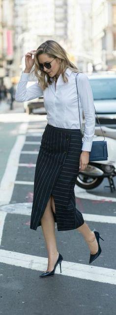 pinstripe wrap midi skirt, classic non-iron shirt, navy patent pointed toe pumps, navy crossbody bag + sunglasses {topshop, brooks brothers, jimmy choo, 3.1 phillip lim, wonderland}