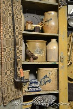 and olde stoneware crocks coverlet. via Home in New England