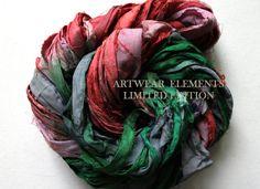 Sari Silk Vintage Red Green Lights Fair Trade 5 by ArtwearElements