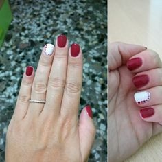 Nails #dot #white #red #beautifulcolours #nailart #simple #botbad #loveit #semipermanent #mesauda