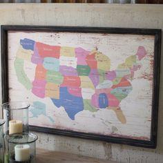 Map Wall Art   Painted Wood Map   Wood Wall Art   Map Wall Hanging