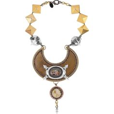 Erickson Beamon Cowboy 22-karat gold-plated necklace (175 CAD) ❤ liked on Polyvore featuring jewelry, necklaces, accessories, pyramid necklace, gold plated necklace, beaded chain necklace, clear crystal necklace and gold plated jewelry