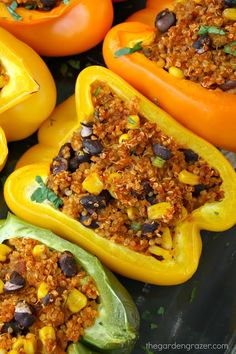 Mexican Quinoa Stuffed Peppers Fun and colorful Mexican Quinoa Stuffed Peppers! Easy fiesta-flavored quinoa with black beans and corn is stuffed into these pretty pepper packages for an awesome healthy meal! Whole Foods, Whole Food Recipes, Cooking Recipes, Vegan Mexican Recipes, Vegetarian Recipes, Healthy Recipes, Best Stuffed Pepper Recipe, Quinoa Stuffed Peppers, How To Cook Quinoa