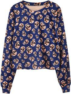 Blue Long Sleeve Skull Print Crop Sweatshirt - Sheinside.com