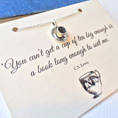 Silver Teacup Necklace inspired by CS Lewis by LiteraryEmporium