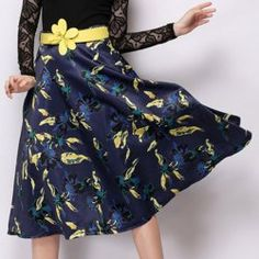 Vintage High-Waisted Floral Print Women's Skirt