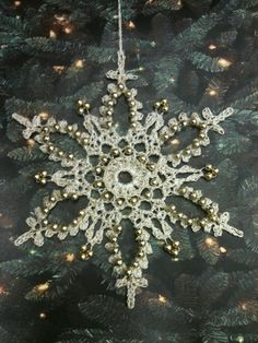 Thread Crochet Beaded Snowflakes by ettajane on Etsy